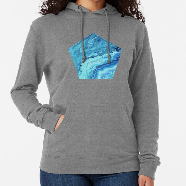 Teal Geode: Acrylic Pour Painting Lightweight Hoodie