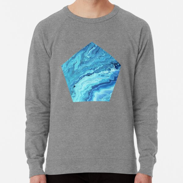 Teal Geode: Acrylic Pour Painting Lightweight Sweatshirt