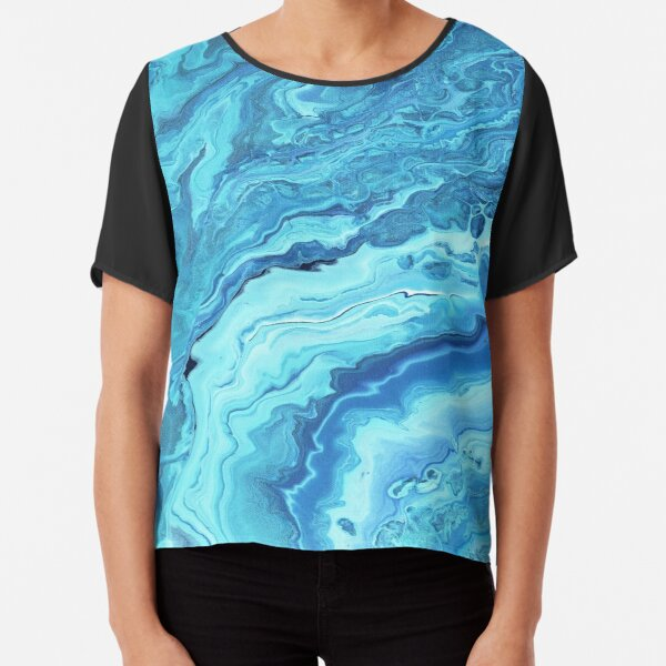 Teal Geode: Acrylic Pour Painting Chiffon Top