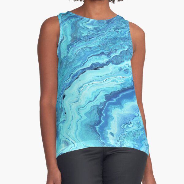 Teal Geode: Acrylic Pour Painting Sleeveless Top