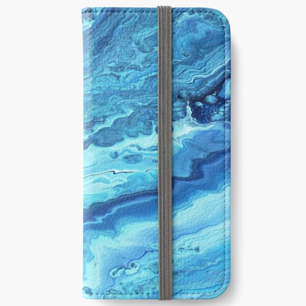 Teal Geode: Acrylic Pour Painting iPhone Wallet