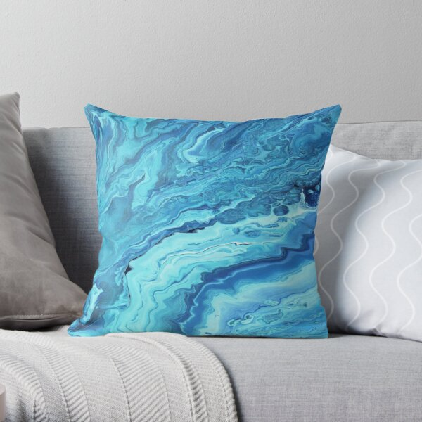 Teal Geode: Acrylic Pour Painting Throw Pillow