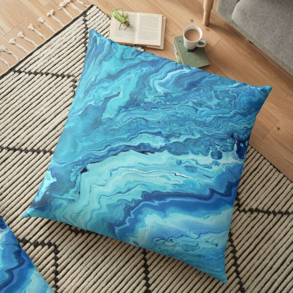 Teal Geode: Acrylic Pour Painting Floor Pillow