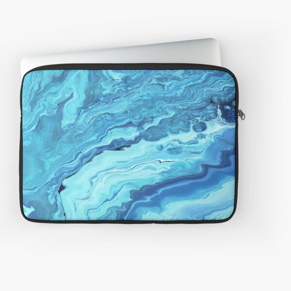 Teal Geode: Acrylic Pour Painting Laptop Sleeve