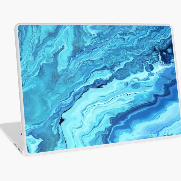 Teal Geode: Acrylic Pour Painting Laptop Skin
