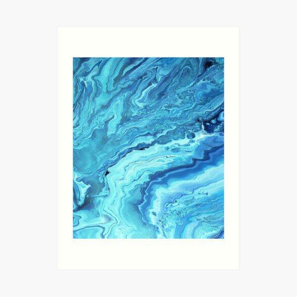 Teal Geode: Acrylic Pour Painting Art Print
