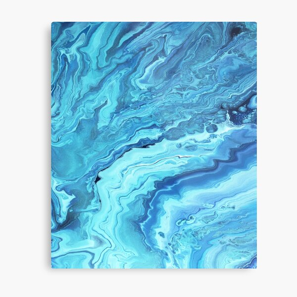Teal Geode: Acrylic Pour Painting Metal Print
