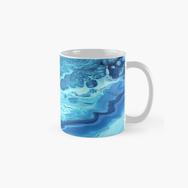 Teal Geode: Acrylic Pour Painting Classic Mug