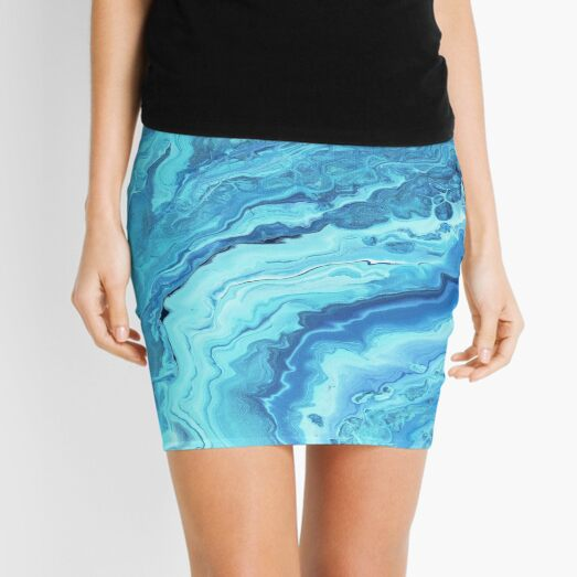 Teal Geode: Acrylic Pour Painting Mini Skirt