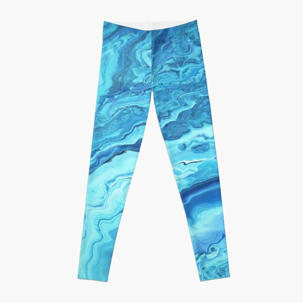 Teal Geode: Acrylic Pour Painting Leggings