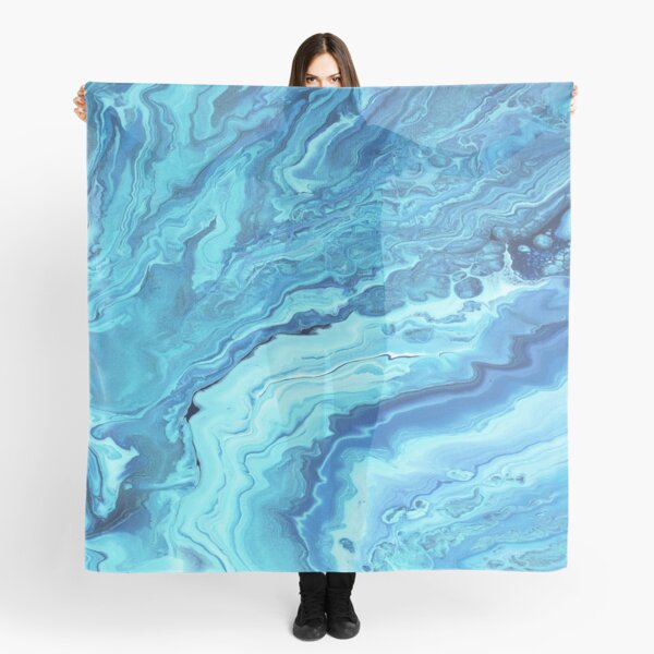 Teal Geode: Acrylic Pour Painting Scarf