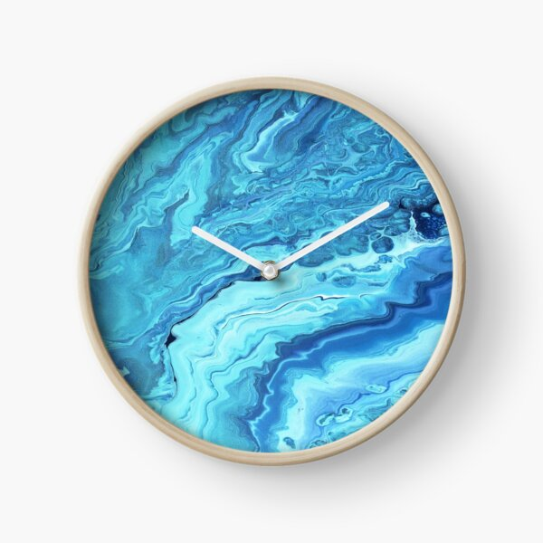 Teal Geode: Acrylic Pour Painting Clock