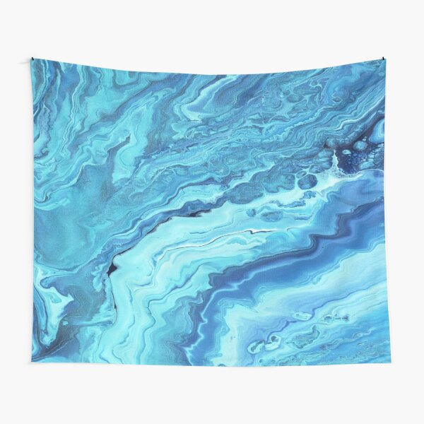 Teal Geode: Acrylic Pour Painting Tapestry