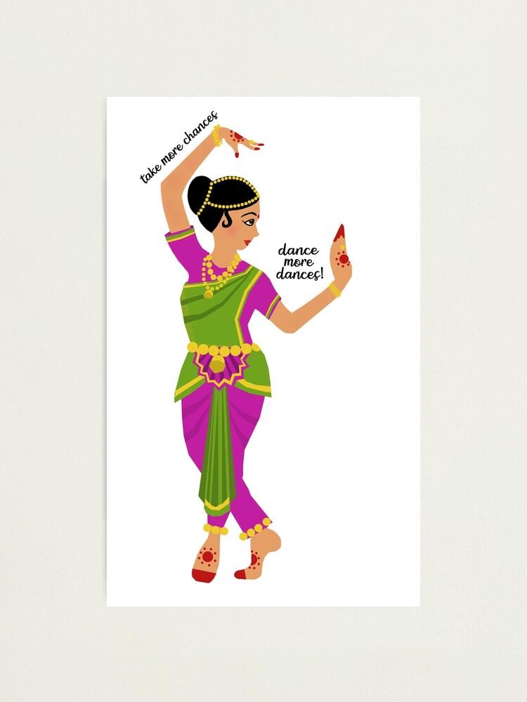 Take More Chances Dance More Dances Bharatanatyam Full Photographic Print By Shravani13 Redbubble