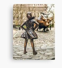 Fearless Girl And Wall Street Bull Statue - New York  Canvas Print
