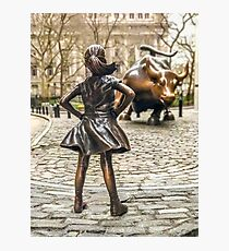 Fearless Girl And Wall Street Bull Statue - New York  Photographic Print