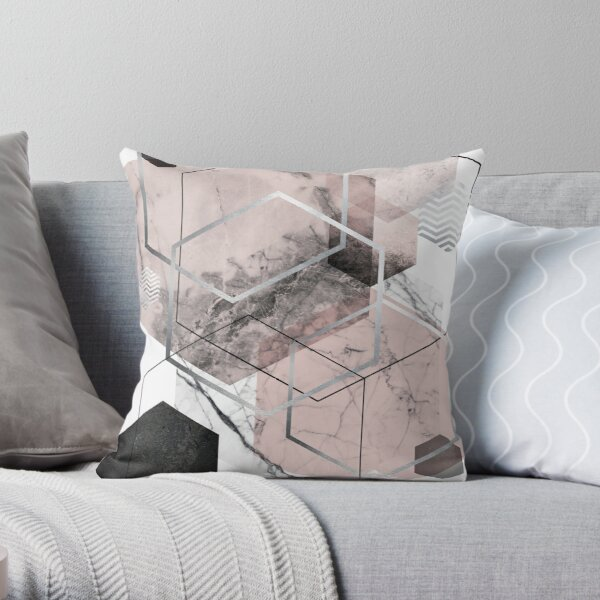 Blush and Grey Geometric Throw Pillow