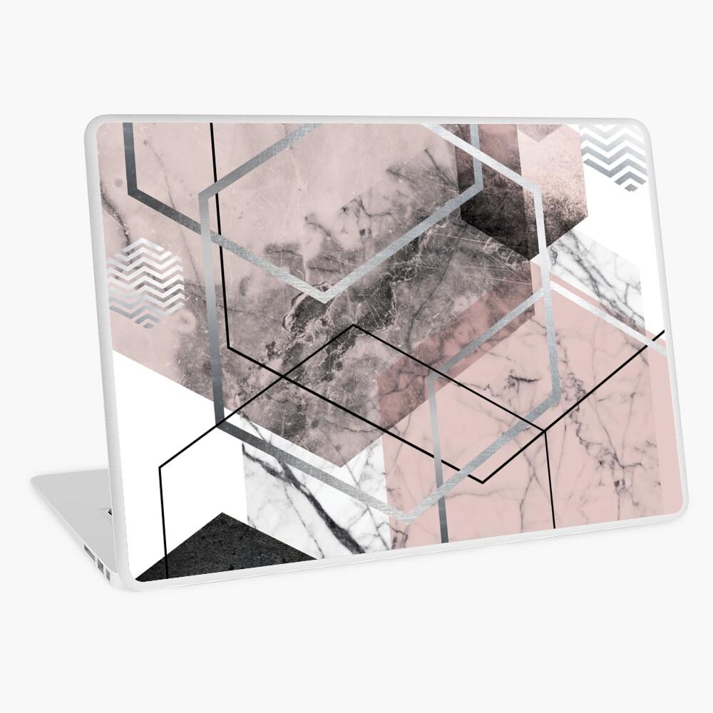 Blush and Grey Geometric Laptop Skin