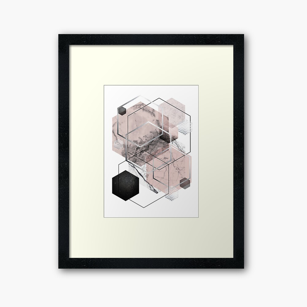 Blush and Grey Geometric Framed Art Print