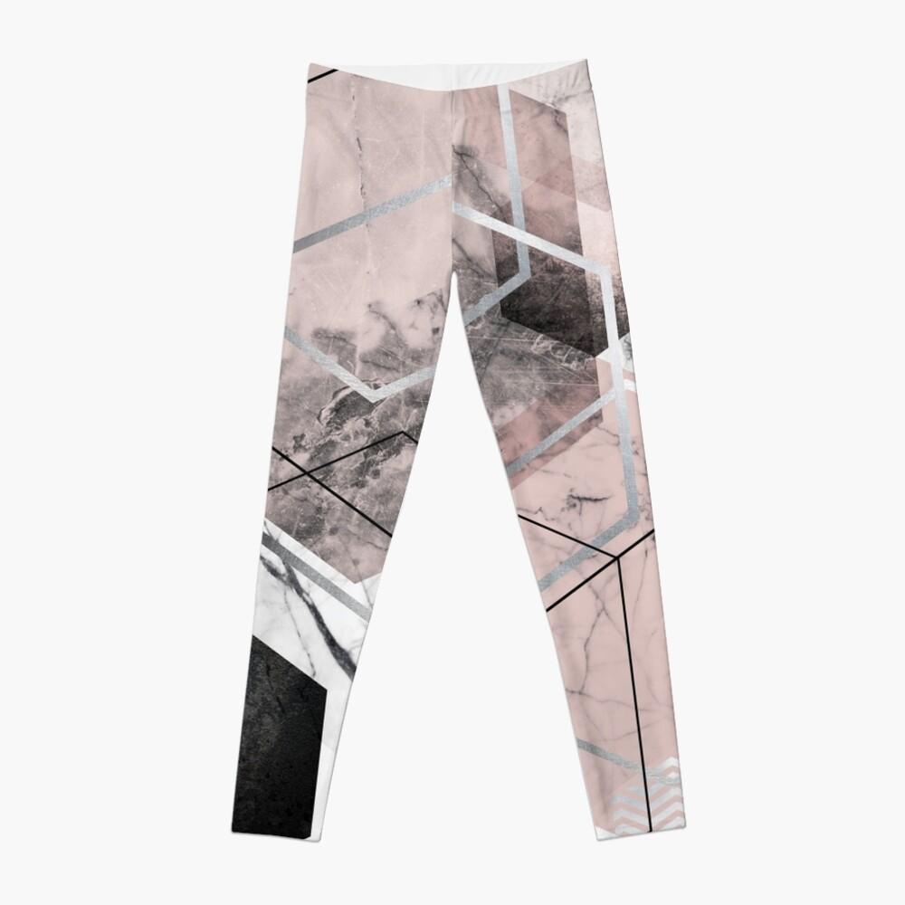 Blush and Grey Geometric Leggings