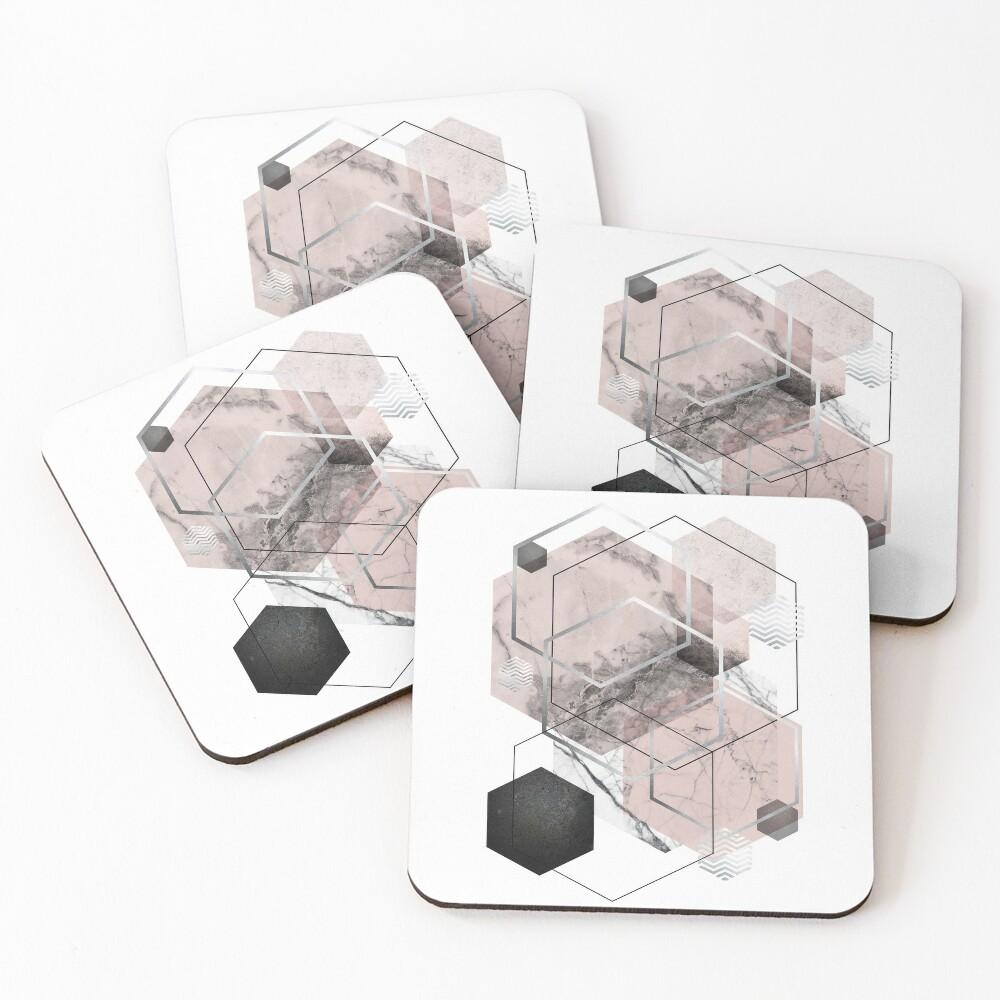 Blush and Grey Geometric Coasters (Set of 4)