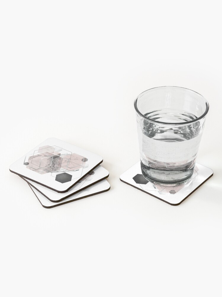 Alternate view of Blush and Grey Geometric Coasters (Set of 4)