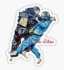 Jitsu-Blue - Bjj /Jiu-Jitsu Painting - Design By Kim Dean Sticker