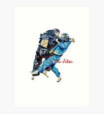 Jitsu-Blue - Bjj /Jiu-Jitsu Painting - Design By Kim Dean Art Print