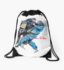 Jitsu-Blue - Bjj /Jiu-Jitsu Painting - Design By Kim Dean Drawstring Bag