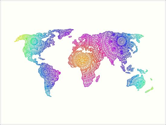 Colorful World Map Art.Colorful World Map Art Prints By Olivia B Redbubble