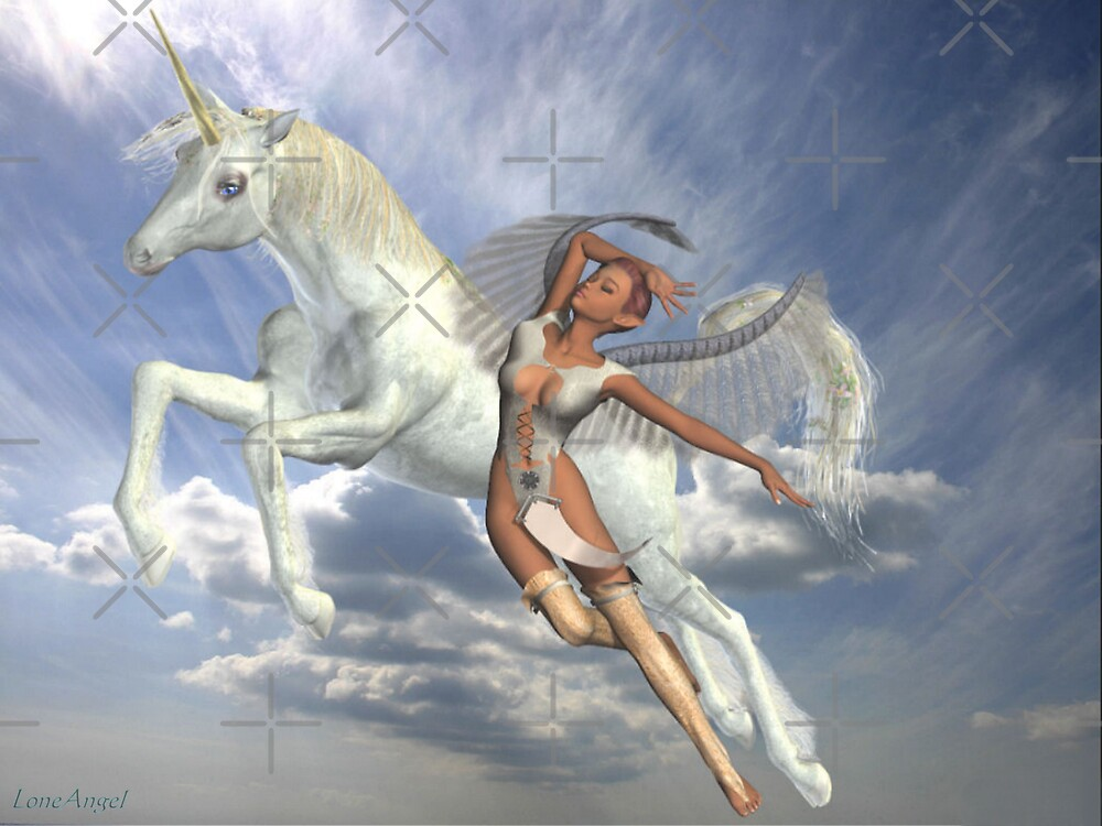 Quot Freedom To Fly Unicorn And Angel Quot By Loneangel Redbubble