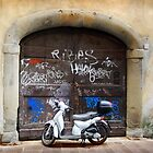 Vespa and graffiti, Rome by Roz McQuillan