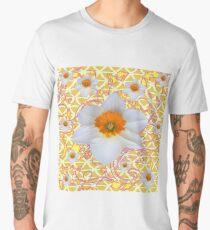 WHITE SPRING DAFFODILS & SCROLLS   Men's Premium T-Shirt