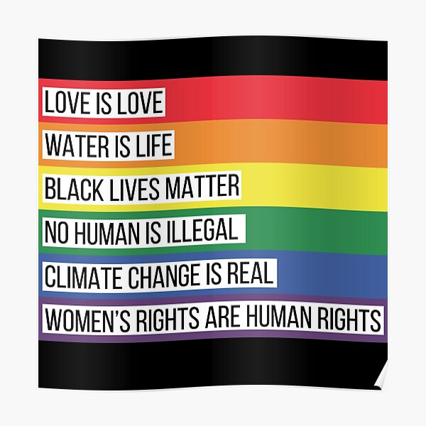 Intersectionality Rainbow Advocacy Flag Poster
