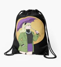 Gwen Stacy with a Purple Umbrella Drawstring Bag