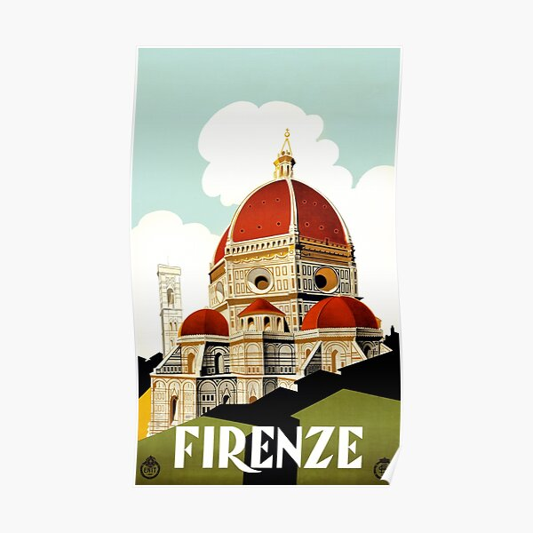 Vintage Florence Firenze Italy Travel poster Poster