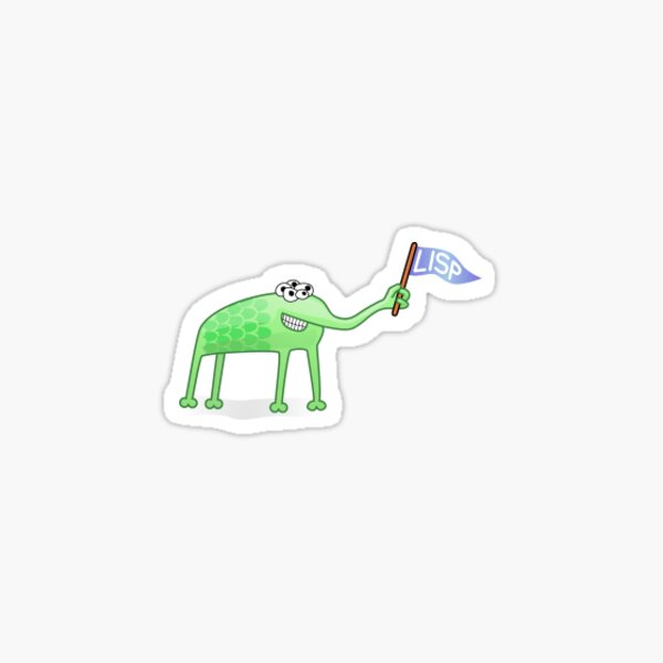 LISP Alien Sticker - alien with flag Sticker