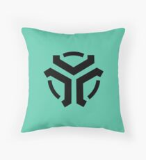 Vergeron Logo Cyan Throw Pillow