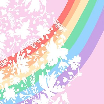 White Floral Paisley with Rainbow Gradient Background Pastel by rhoadsette
