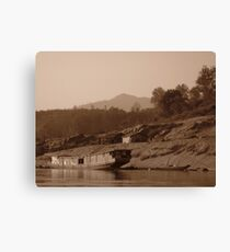 Lone Slow Boat on the Mekong Canvas Print