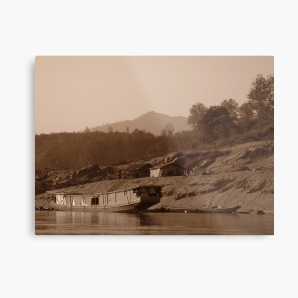 Lone Slow Boat on the Mekong Metal Print