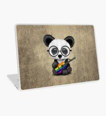 Vinilo para portátil Baby Panda Playing Rainbow Flag Guitar