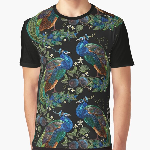 Embroidery peacocks Graphic T-Shirt