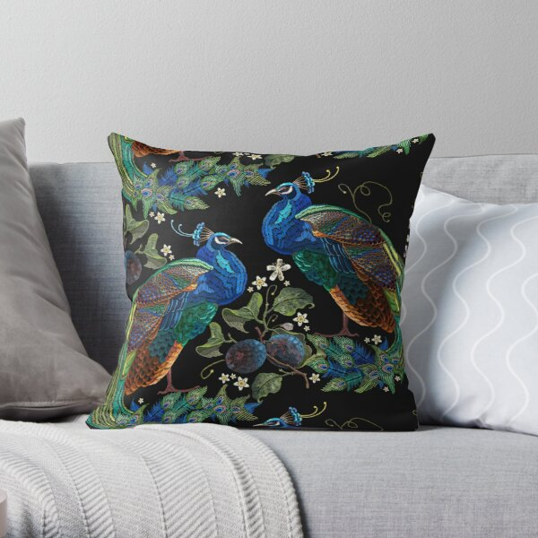 Embroidery peacocks Throw Pillow