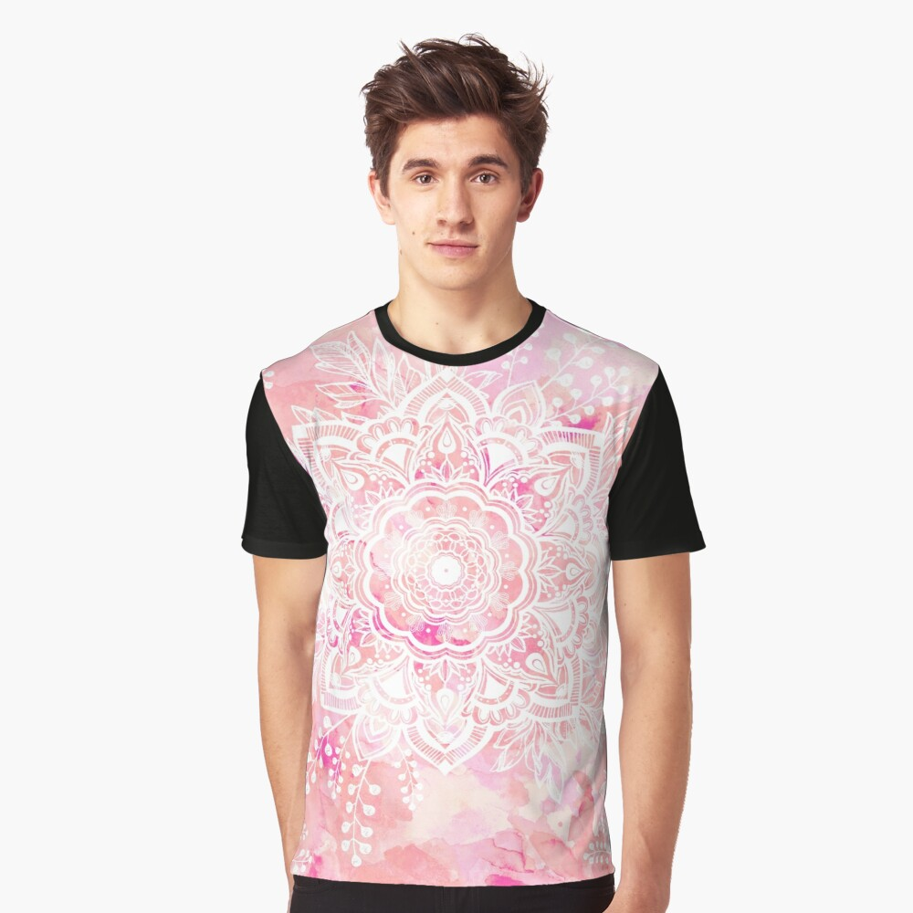 Queen Starring of Mandalas Pink Graphic T-Shirt