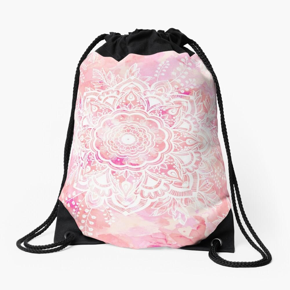 Queen Starring of Mandalas Pink Drawstring Bag