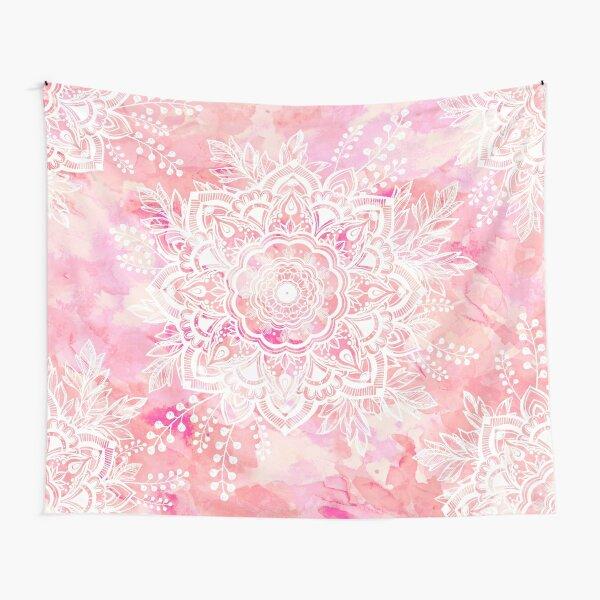 Queen Starring of Mandalas Pink Tapestry