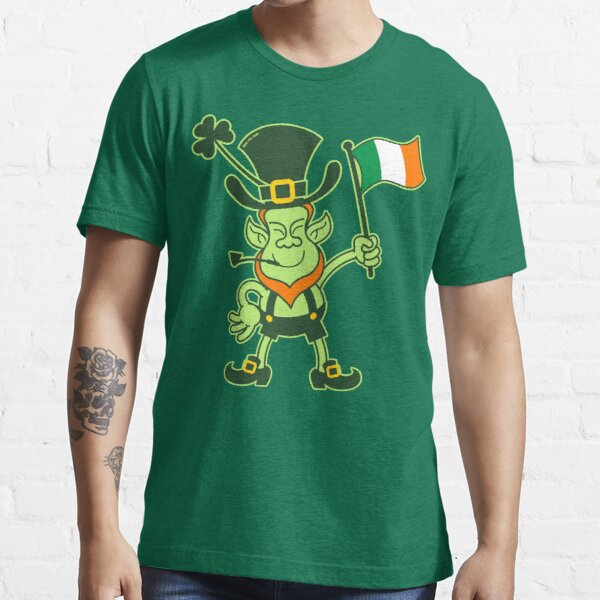 Proud Leprechaun Waving an Irish Flag Essential T-Shirt