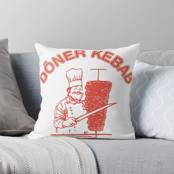 Doner kebab logo Throw Pillow