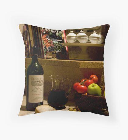 Un verre de vin rouge?  A glass of red wine? Throw Pillow